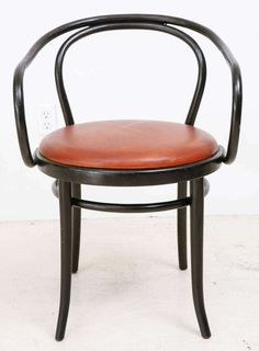 Set of 6 Matte Black and Custom Leather Thonet Chairs image 3