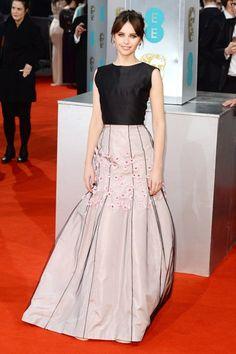 Felicity Jones in vintage Dior, Bafta Award 2015
