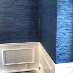 """""""Client dining room grass cloth install today! {We installed the wainscot last week}"""""""