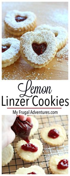 Linzer cookies recipe. These are so pretty and absolutely delicious! Hints of lemon, almond and tart raspberry make these a perfect homemade gift idea.