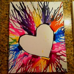 Another way to make melted crayon art.  Wold be cute to do the child's first intial instead of a heart.