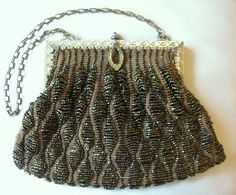 Antiques Vintage Accessories Antique Art Nouveau Gold T Frame Hand Knit Brown Iridescent Bead Fringe Purse Top Watermelons