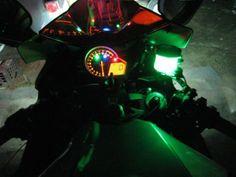 Green LED Accent Motorcycle Neon Glow Street Bike Brake Clutch Reservoir Light