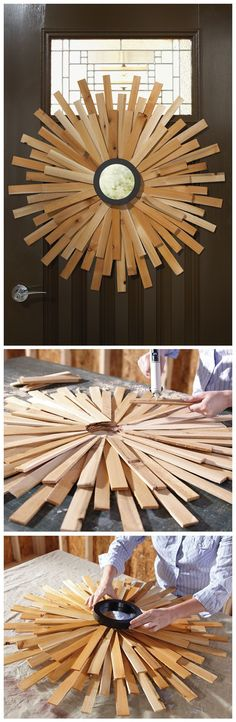 ake this bold and beautiful sunburst mirror with wood shims. It's a versatile accent piece that can be used as artwork or a front door wreath. Just follow these instructions to learn how to build your own!