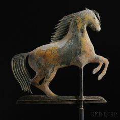 Rare Small Rearing Arabian Horse Weathervane, attributed to A.L. Jewell & Co., Waltham, Massachusetts, c. 1860, flattened full-body molded sheet copper figure with pierced eyes and forelock,