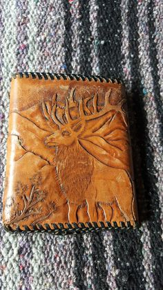 Leather Hand Tooled Wallet / Elk / Tri Fold / Mens by Lauralous