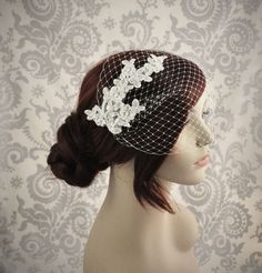Ready to Ship - Birdcage Veil - Lace Birdcage Veil - Bandeau Veil, Bird cage Veil with beaded lace, Ivory ready to ship - 101BC by Januaryroseboutique on Etsy https://www.etsy.com/listing/151671517/ready-to-ship-birdcage-veil-lace