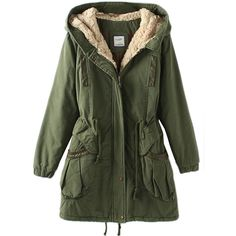 Green Vintage Warm Winter Tunic Hooded Womens Parka Coat ($85) ❤ liked on Polyvore featuring outerwear, coats, jackets, tops, green, vintage coat, hooded parka coat, green hooded coat, vintage parka and green parkas