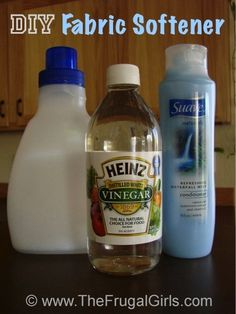 Homemade Fabric Softener ~  6 cups HOT water ■3 cups white vinegar   ■2 cups Suave Refreshing Waterfall Conditioner OR ANY FAVORITE,  mix hot water & conditioner til dissolved, then mix in vineger, add about 2 caps from old softener bottle to washer,DONE