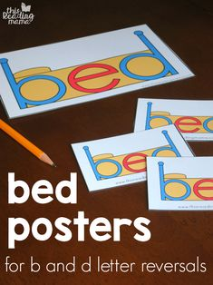 Bed Posters for b and d letter reversals - This Reading Mama Preschool Learning Activities, Kindergarten Literacy, Alphabet Activities, Early Literacy, Classroom Activities, Kids Reading, Teaching Reading, Teaching Kids, Reading Posters