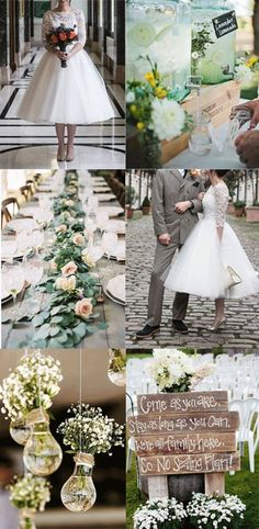 Bateau Neck Half Sleeves Lace Tea Length Wedding Dress