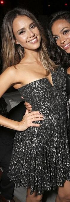 Who made  Jessica Alba's gold one shoulder dress and black platform pumps that she wore in Los Angeles
