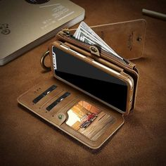 Enjoy the space-saving power of 4 in 1 Leather Wallet iPhone case.This Leather case with card holder provides a home for all the essentials of your busy life. Iphone 8, Black Iphone 7, Best Iphone, Iphone Cases, Iphone Leather Case, Iphone Wallet Case, Iphone 6 Plus Case, Leather Wallet, Cheap Iphones