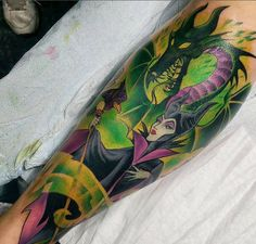 Maleficent and Dragon forearm sleeve. Disney Tattoos, Disney Sleeve Tattoos, Cartoon Tattoos, Maleficent Tattoo, Disney Maleficent, Arm Tattoo, Real Tattoo, Badass Tattoos, Body Art Tattoos