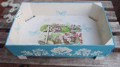 Como reciclar cajas de fresas con decoupage y pintura chalk