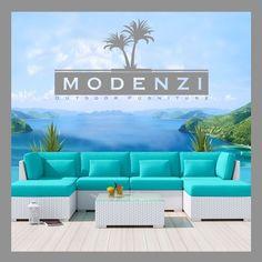 MODENZI DELUXE 7C WHITE Modern Outdoor PE Wicker Sofa Patio Furniture Set #MODENZI