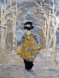 Winter - amazing needle felting by Stacy Polson Japanese Quilts, Japanese Art, Nuno Felting, Needle Felting, Textile Manipulation, Grand Art, Art Du Fil, Felt Pictures, Textile Fiber Art
