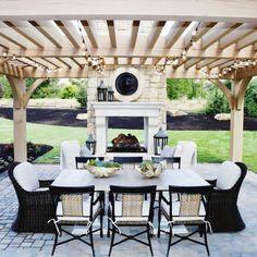 The Happiness of Having Yard Patios – Outdoor Patio Decor Rustic Outdoor Fireplaces, Outdoor Fireplace Designs, Backyard Fireplace, Backyard Patio, Fireplace Ideas, Wood Patio, Patio Roof, Fireplace Mantel, Diy Patio