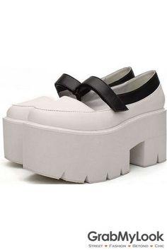 3dd6df1b8f59 GrabMyLook Black White Round Head Punk Rock Gothic Thick Platforms Sole  Women Shoes Heels Toe Shape