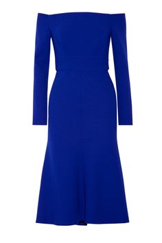 Lela Rose Off-the-shoulder Stretch Wool-blend Crepe Dress In Lapis Royal Blue Color Dress, Royal Blue Dresses, Fit N Flare Dress, Slim Fit Dresses, Work Dresses, Midi Dresses, Lela Rose, Electric Blue Dresses, Off Shoulder Dresses