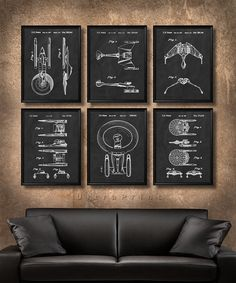 SET of 6 Star Trek Spaceship Posters, Vintage Patent Illustration, Art Print, Canvas, Wall Art Decor, Battle Cruisers, Star Trek Gift - s663