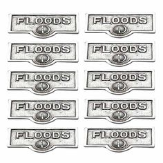 10 Switchplate Chrome Over Brass FLOODS Switch Tag Chrome 1 11/16 in. W