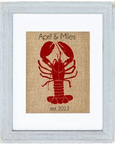 Lobster Monogram burlap art by Fiber and Water || nautical lobster print in grey frame for the living room, bedroom, kitchen, bathroom || home decor for a new england home