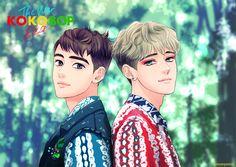 melting with this two great vocalist Kpop Exo, Exo Kokobop, Exo Do, Chanyeol, Exo Chen, Exo Anime, Ko Ko Bop, Exo Fan Art, Kpop Posters