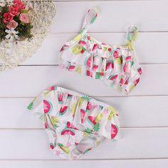 >> Click to Buy << 2pcs Baby Set Newborn Kids Baby Girls Clothes Summer Sleeveless Fruit Print Tankini Bikini+Underwear Baby Bathing Suit Beachwear #Affiliate