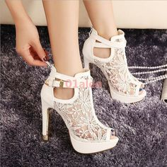 Women Lace Open Toe High Heel Wedding Platform Chic Pump Ankle Boot Fashion 2017 #anklestrapsheels2017