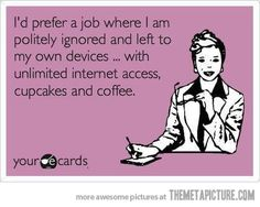 Actually sounds like my job with the exception of coffee and cupcakes.  More like Beer and wings.
