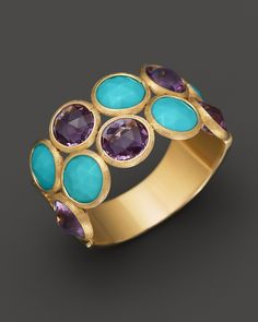 Marco Bicego Turqoise and Amethyst Ring in 18K Yellow Gold | Bloomingdale's