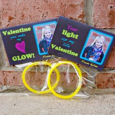 diy Printable Custom Photo Valentine Treat Bag Topper - glow stick, necklace, bracelate