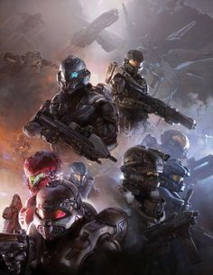 Early Halo 5 artwork featuring Gabriel Thorne as a member of Fireteam Osiris. Later in Halo development Thorne was replaced by Edward Buck, Halo 5, Halo Game, Odst Halo, Halo Armor, Halo Master Chief, Halo Reach, Future Soldier, Red Vs Blue, Video Game Art