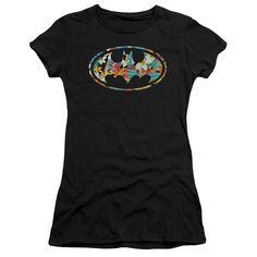 BATMAN HAWAIIAN BAT Juniors Sheer Cap Sleeve T-Shirt
