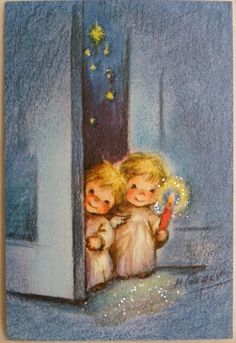 267 50s Marjorie Cooper Sweet Glittered Angels Vintage Christmas Greeting Card | eBay