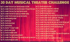 Starting tomorrow, I am going to be doing this musical theatre challenge. I did…