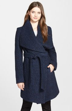 Free shipping and returns on MICHAEL Michael Kors Bouclé Wrap Coat at Nordstrom.com. An oversized collar updates the timeless styling of a wrap coat in a soft, texture-rich bouclé blended with plenty of warm wool.