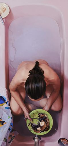 "Lee Price, ""Blueberry Pancakes"", Oil on Linen Illustrations, Illustration Art, Lee Price, Concours Photo, Realistic Paintings, Oil Painters, Bathroom Art, Body Image, Female Art"