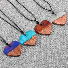 3.17AUD - Fashion Creative Resin&Wood Heart Shape Handmade Pendants Sweater Chain Pop #ebay #Fashion