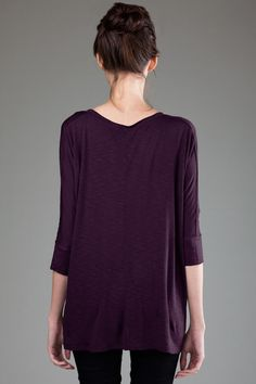 BP - 3PMSL866 - Back - Dark Plum -- eco ProModal® Slub Fine Jersey 3/4 Sleeve V-Neck w/ Side Slits. This loose fit top has cuffed 3/4 sleeves, a raw-edge v-neck and side slits. Made in USA. • Sizes: S-L, 5.1 oz., Eco ProModal® Slub Fine Jersey • Garment dyed and washed, preshrunk, ethereally soft, feather-light feel and fantastic drape • Self fabric raw edge set-in collar.