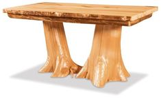 Unique Log Furniture from DutchCrafters. Double Stump Dining Table made with aspen, pine or cedar wood. Option to add a live edge top. Dining Room Furniture Design, Log Cabin Furniture, Live Edge Furniture, Amish Furniture, Solid Wood Furniture, Living Furniture, Furniture Making, Rustic Bench, Rustic Wood