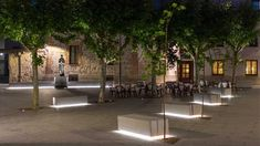 New Nightscape, lighting masterplan for the City of Avila, Spain. Park Lighting, Facade Lighting, Exterior Lighting, Outdoor Lighting, Landscape Architecture Design, Light Architecture, Urban Furniture, Street Furniture, Parque Linear