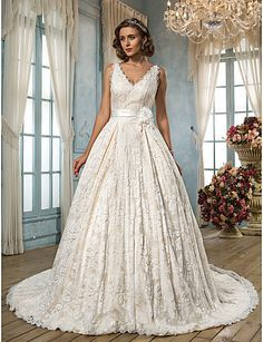 Lanting A-line Plus Sizes Wedding Dress - Ivory Court Train V-neck Lace 2016 - $169.99