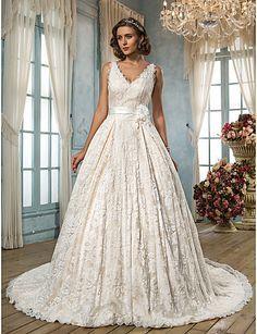 Lanting A-line Plus Sizes Wedding Dress - Ivory Court Train V-neck Lace 2016 - $169.99