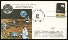 """lotto 1027 - Spazio - USA - 1969 - Moon Landing - busta commemorativa n.2 di 150, con disegno ufficiale Nasa MSC Stamp Club e l'emblema della missione Apollo 11 - c.6 """"Apollo 8"""" e bollo circolare «Moon Landing Jul 20 1969 USA» apposto sperimentalmente in laboratorio su 150 buste prima della partenza dell'Apollo 11"""