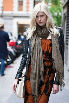 """bohemian dress, in """"tangerine tango"""" & scarf, jacket; would be nice with boots"""