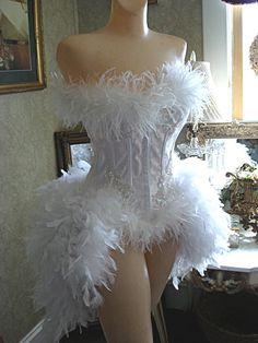 Pompon Blanc Parfait Burlesque Feather Corset Costume. $175.00, via Etsy.