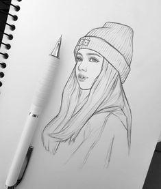 Kpop Drawings, Girly Drawings, Anime Drawings Sketches, Art Drawings Sketches Simple, Pencil Art Drawings, Sketch Drawing, Beautiful Pencil Sketches, Pencil Sketches Easy, Pink Drawing