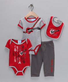 Gray & Red Guitar Pants Set - Infant